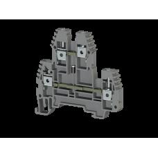 Клеммник 2-х ярусный  4мм.кв., с диодом, (серый); PIK4ND-B