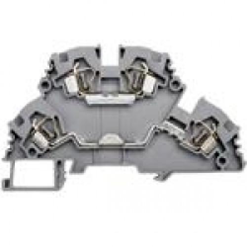 Клеммник 2-х ярусный пружинный 4мм.кв. (серый); YBK4-2F 318109