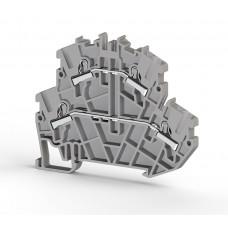 Клеммник 2-х ярусный пружинный быстрозажимной (Push in), 2,5 мм.кв. (серый); PYK2,5-2F