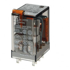 Миниатюрное универсальное электромеханическое реле;  2CO 10A; катушка 24В DC;опции: кнопка тест + мех.индикатор
