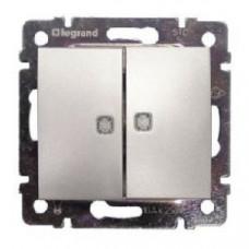 Переключатель Legrand Valena 2напр  двухклавишный с подсветкой (алюминий)   770212