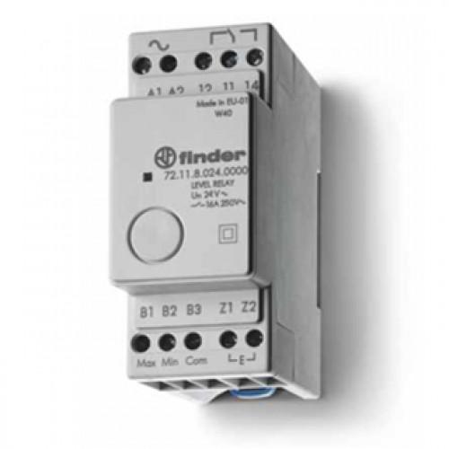 Реле контроля уровня; фиксированный диапазон чувствительности 150кОм; питание 24В DC; выход 1CO 16А; модульное, 721190240000