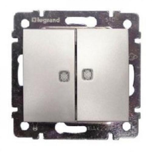 Выключатель двухклавишный с подсветкой Legrand Valena (алюминий)   770128 770128