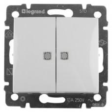 Выключатель двухклавишный с подсветкой Legrand Valena (белый)   774428